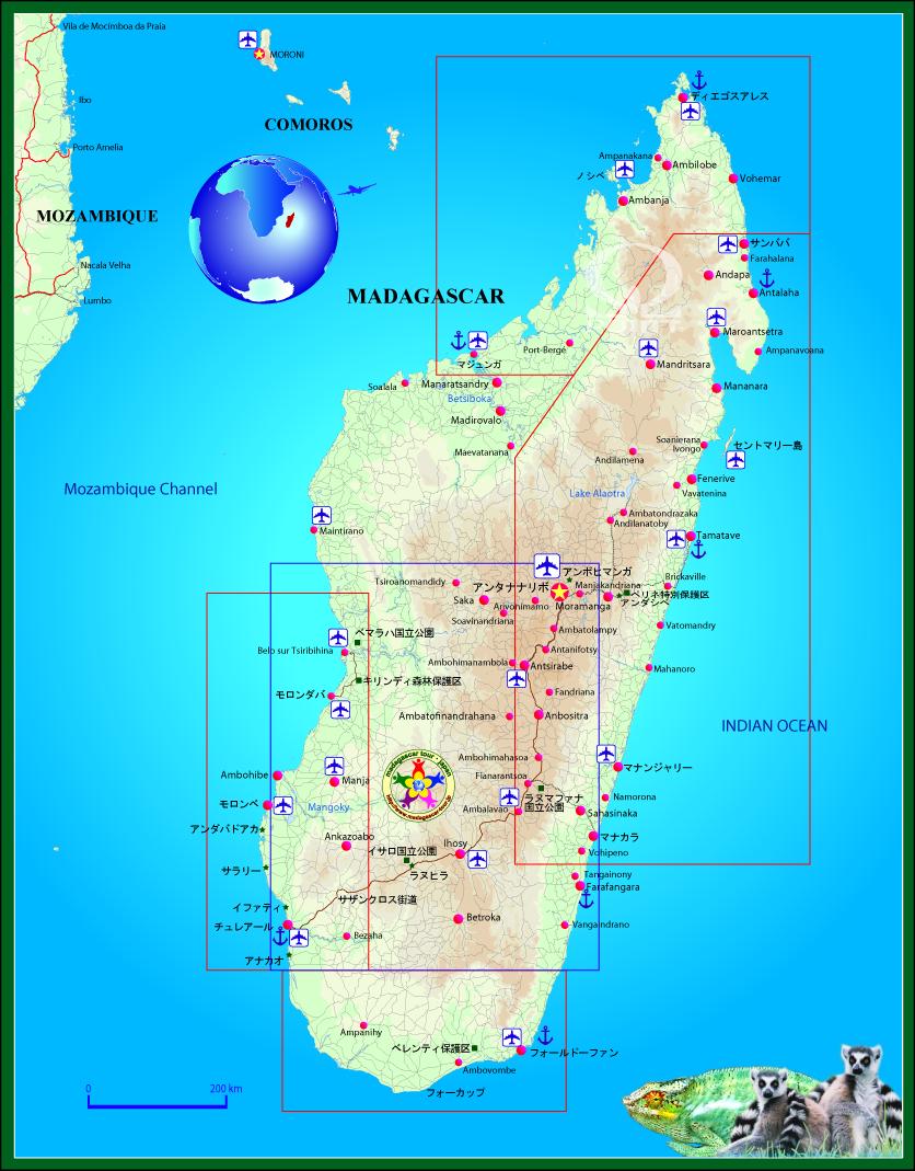ホットスポット「最後の楽園」 マダガスカル島旅行を楽しむための詳細全島地図